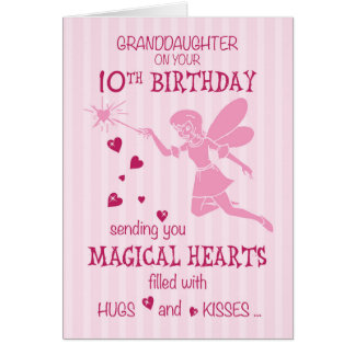Granddaughter 10th Birthday Magical Fairy Pink カード