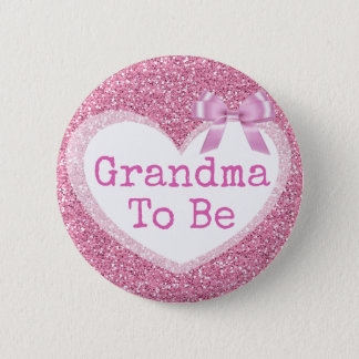 Grandma to be Pink Bow Baby Shower Button 5.7cm 丸型バッジ
