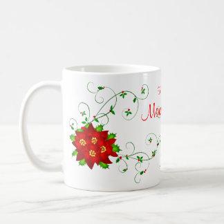 GrandmomのメリークリスマスのPointsettiaのギフトのマグ コーヒーマグカップ