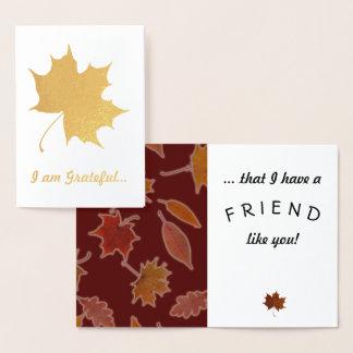 Grateful Friendship Autumn Leaves Custom Text 箔カード