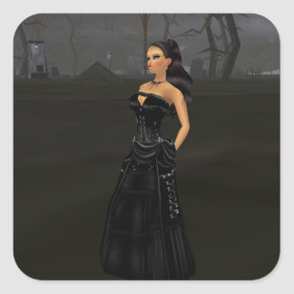 Graveyard Stickersゴシックの女性 スクエアシール