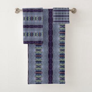 gray blue striped towel set バスタオルセット
