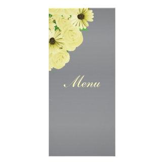 Gray Wedding Satin and Pastel Yellow - Menu ラックカード