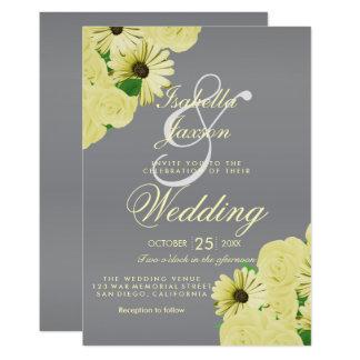 Gray Wedding Satin and Pastel Yellow Wedding カード
