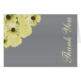 Gray Wedding Satin and Yellow Floral カード