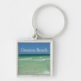 Graytonのビーチフロリダは30A南Waltonに水をまきます シルバーカラー正方形キーホルダー