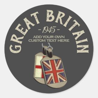Great Britain English Dog Tags ラウンドシール