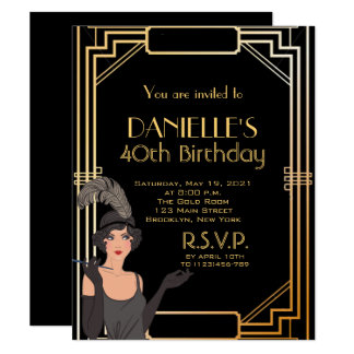 Great Gatsby Inspired Art Deco Birthday Invitation カード