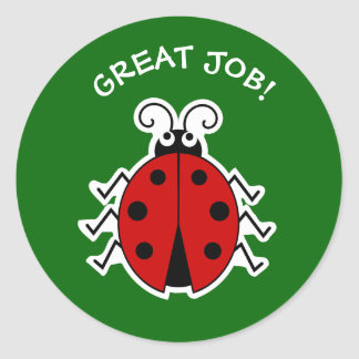 Great job ladybug teachers green ラウンドシール