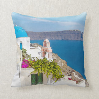 Grecian楽園。 Santoriniの水彩画の絵画 クッション