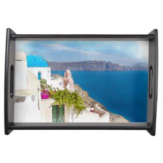 Grecian楽園。 Santoriniの水彩画の絵画 トレー