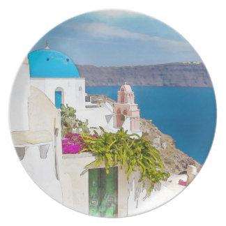 Grecian楽園。 Santoriniの水彩画の絵画 プレート