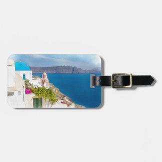 Grecian楽園。 Santoriniの水彩画の絵画 ラゲッジタグ
