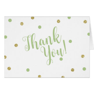 Green and Gold Glitter Thank You Cards カード