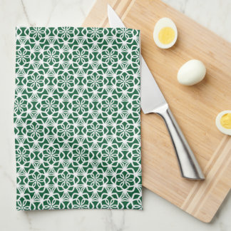 Green and White Snowflake Lace Kitchen Towel キッチンタオル