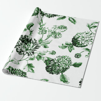 Green And White Vintage Botanical Floral Toile ラッピングペーパー