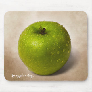 Green apple and a custom text マウスパッド
