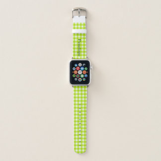 Green Apple Gingham Add Your Name Apple Watchバンド