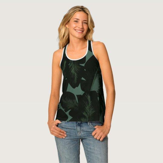 Green & Black Chic Tropical Leaves Pattern Print タンクトップ