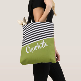 Green Black White Striped Pattern Personalized トートバッグ