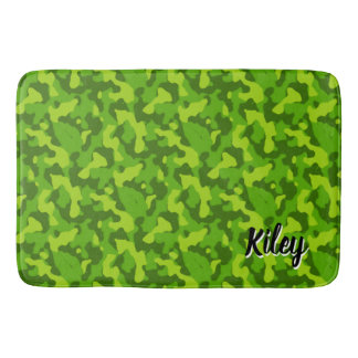 Green Camouflage Pattern Monogram バスマット