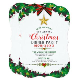 Green Christmas Wreath Dinner Party Invitation カード
