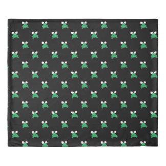 Green Frogs on Black Duvet Cover 掛け布団カバー