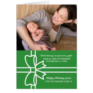 Green Gifted Holiday Photo Greeting Card カード