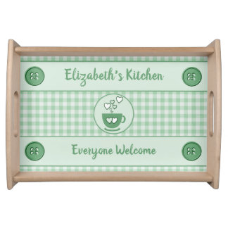 Green gingham name kitchen トレー
