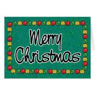 Green Glitter Bead Christmas Card カード