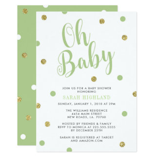 Green & Gold Glitter Oh Baby Shower カード