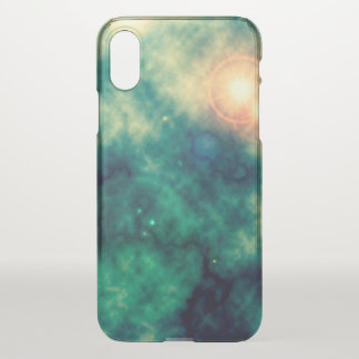 Green Gold Star Space Diffuse Nebula and Supernova iPhone X ケース