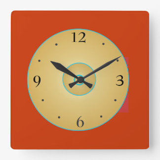 Green>Kitchenの時計との単純化した赤い黄色 スクエア壁時計