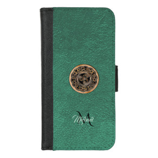 Green Leather Bronze Celtic Triskele Monogram iPhone 8/7 ウォレットケース