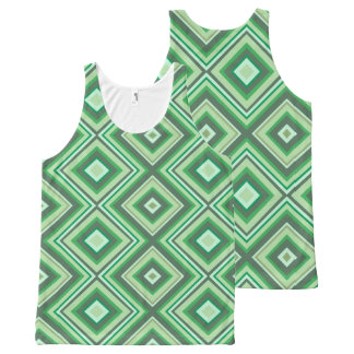 Green lines design vest オールオーバープリントタンクトップ