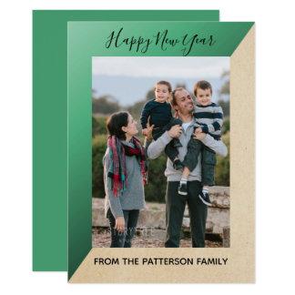 Green Modern Slant New Year's Photo Flat Card カード