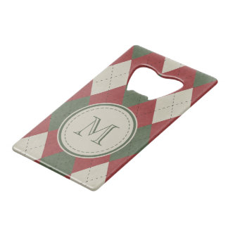 Green & Red Argyle Plaid Pattern with Monogram ウォレット 栓抜き
