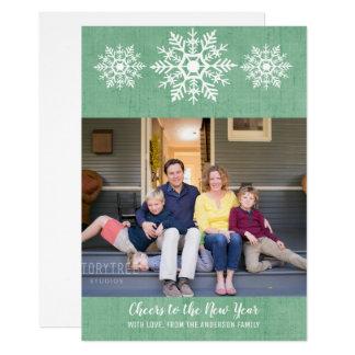 Green Rustic Snowflake New Year's Photo Flat Card カード