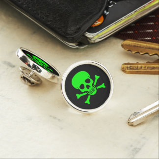 Green Skull and Crossbones ラペルピン