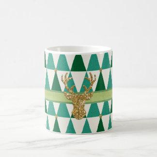Green Sparkle Deer Christmas Mug コーヒーマグカップ
