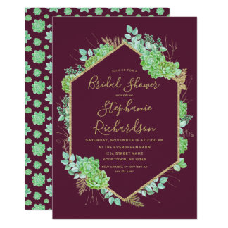 Green Succulents Gold Bridal Shower Invitation カード