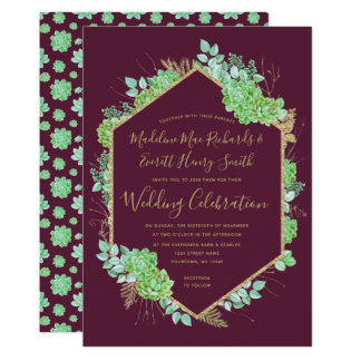 Green Succulents Gold Frame Wedding Invitation カード