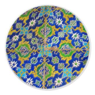 Green Yellow Antique Iznik Glaze Tile Ottoman Era セラミックノブ