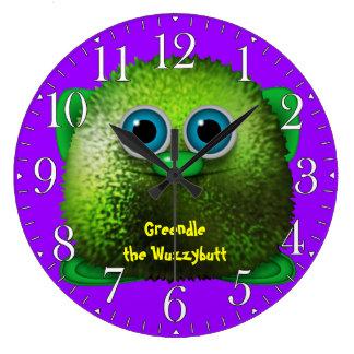 Greendle Wuzzybuttの子供のおもしろいの漫画の時計 クロック