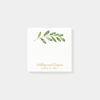 Greenery Watercolor Leaves Wedding Notes ポストイット