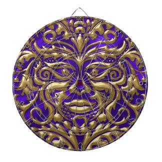 GreenManの紫色のサテンのプリントの液体の金ゴールドのダマスク織 ダーツボード