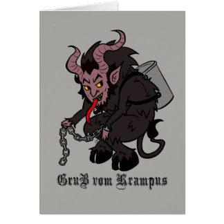 Greetings from Krampus in Brown カード