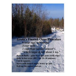 Gretaのフィンランドのオーブンのパンケーキレシピ ポストカード