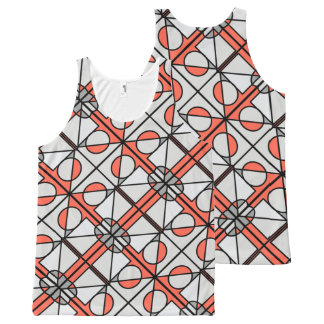 Grey and red pattern vest オールオーバープリントタンクトップ