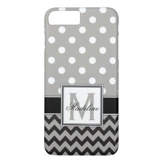 Grey, Black & White Polka Dots and Chevron Mobile iPhone 8 Plus/7 Plusケース
